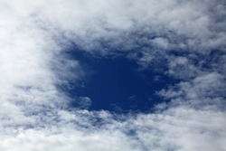 Cirrus clouds on the blue sky background. Abstract sketches of nature. Open skies between the clouds for to write. Place for writting. Mockup. Sky texture