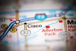 Cisco. Illinois. USA on a geography map