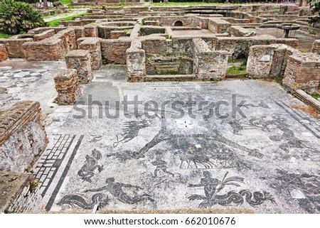 Cisiarii Roman empire thermal bath landscape in Ostia Antica - Rome - Italy