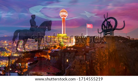 Citadel of Ankara in the night and other touristic attractions in Ankara, Turkey