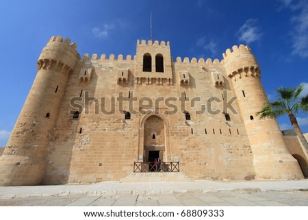 Citadel of Qaitbay, built from the ruins of the Lighthouse of Alexandria (seven wonders of the world), in Alexandria, Egypt