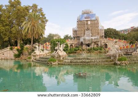 Citadel park cascades in Barcelona, Spain