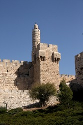 Citadel tower along the wall of the old city in Jerusalem in Israel