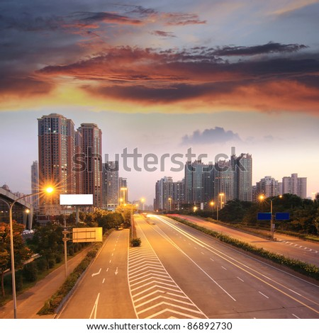 Cities and highways in the evening