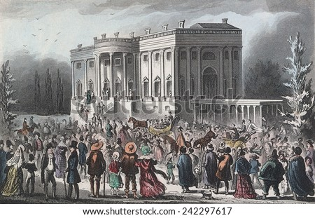 Citizens going to the public White House reception after Andrew Jackson\'s inauguration. The crowd trashed the house and had to be coaxed out. British print by Robert Cruikshank. March 4, 1829
