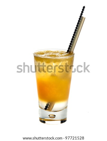 Citronada,Orange-squash.Fresh orange juice  poured in different layers  with ice isolated on white background