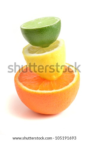 Citrus.Citrus fruits isolated on white background. Healthy citrus fruits. Citrus fruits - orange, lime and lemon.