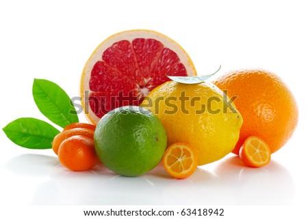 Citrus fresh fruit isolated on white background( kumquat, lemon, lime,orange, grapefruit)