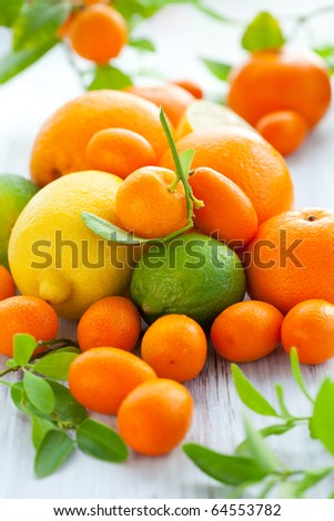 Citrus fresh fruit on the white wooden table