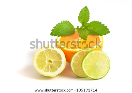 Citrus fresh fruit on white background