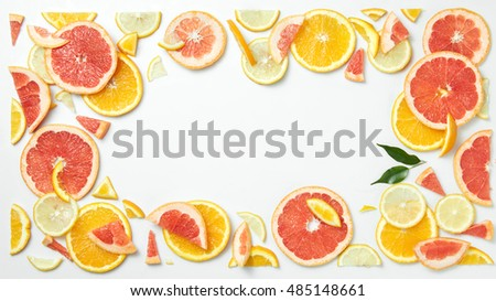 citrus fruit frame of  slices isolated on white background #485148661