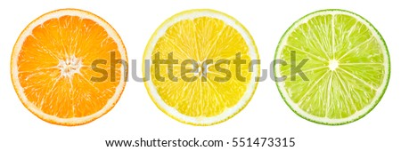 Citrus fruit. Orange, lemon, lime. Slices isolated on white background. Collection.