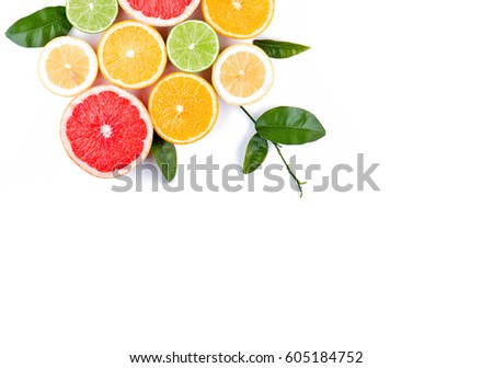 Citrus fruits arranged beautifully. Concept of healthy eating. #605184752