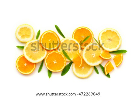 Citrus fruits. Citrus fruits with green leaves. Citrus fruits is #472269049