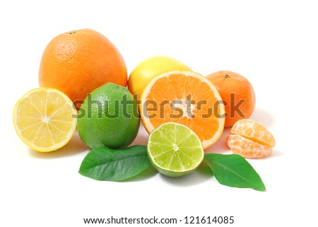 Citrus fruits. Citrus fruits with green leaves. Citrus fruits isolated on white background. Healthy citrus fruits. Citrus fruits - lemon, orange and lime.