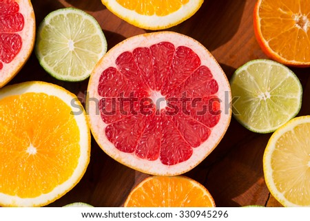 Citrus fruits cutted - stock photo