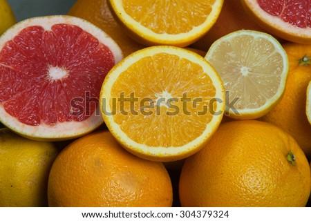 Citrus fruits.fresh citrus fruits.Mixed citruses, oranges, lemon,mandarin,grapefruit. Fresh citrus fruits background.