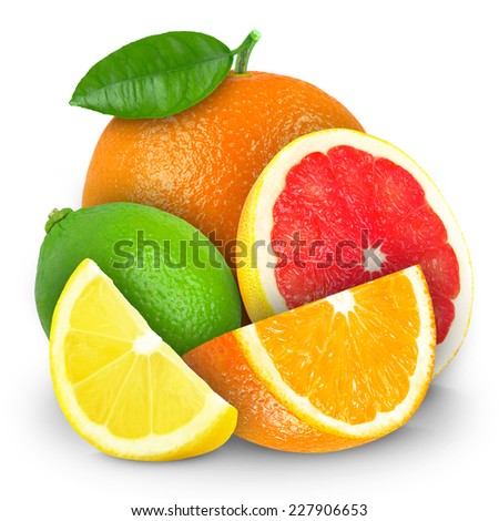 Citrus fruits isolated on white  #227906653