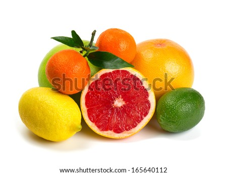 citrus fruits isolated on white background #165640112