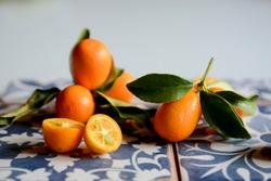 Citrus fruits kumquat with gray and blu background
