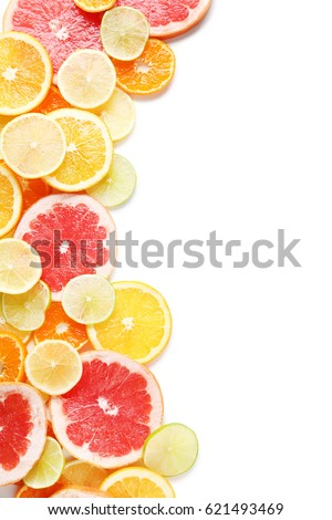 Citrus fruits on a white background - Shutterstock ID 621493469