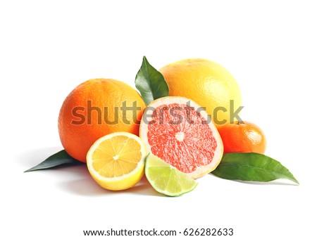 Citrus fruits on white background #626282633