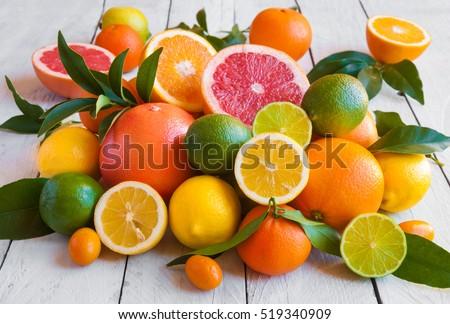 Citrus fruits (orange, lemon, grapefruit, mandarin, lime)