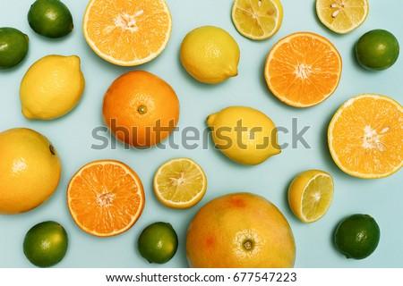 Shutterstock Citrus fruits sliced, lemons, oranges, tangerines and grapefruit.
