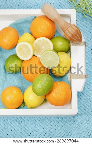 Citrus fruits. Various types of citrus fruit and wooden citrus squeezer on white vintage tray, blue background. Macro, selective focus