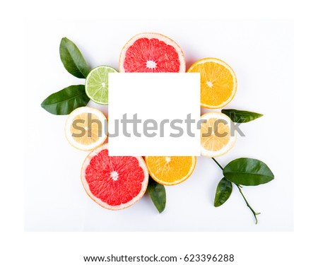 Citrus fruits with rectangular white space for text - Shutterstock ID 623396288