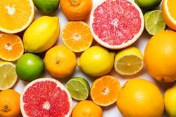 Citrus fuits, grapefruit, lemon, lime, orange background