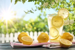 Citrus lemonade in garden setting,summer drink.