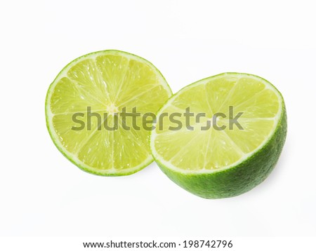 Citrus lime fruit half isolated on white background #198742796