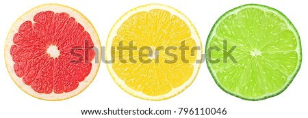 citrus slice, grapefruit, lemon, lime, isolated on white background, clipping path