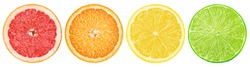 citrus slice, grapefruit, orange, lemon, lime, isolated on white background, clipping path