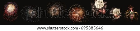 City: A Set of Variety of Firework Design on Independence Day on Hudson River, New Jersey on Black Background