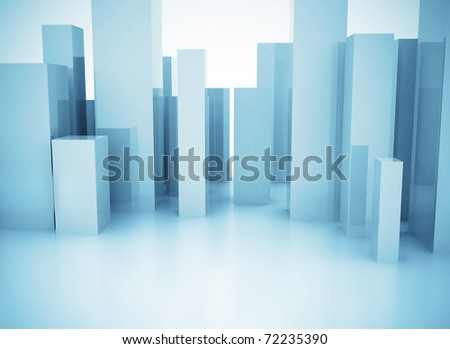 City abstract 3d model glass office buildings