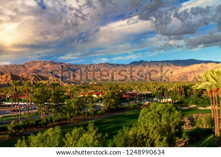 City and mountain view of Indian Wells, California in the Coachella Valley