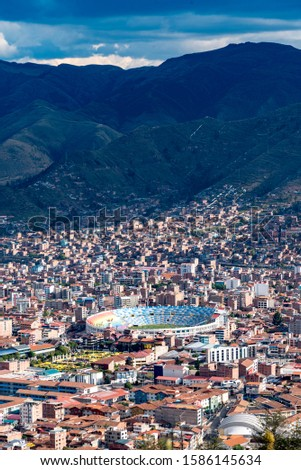 City and mountains panoramic view