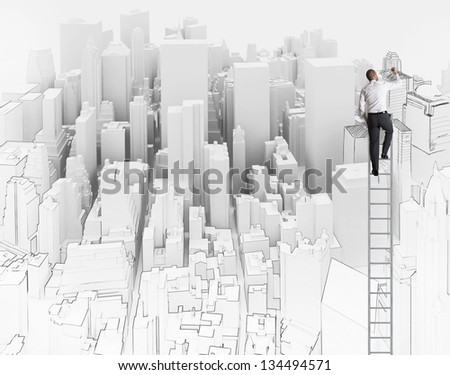 City and office sketch of an architect - stock photo