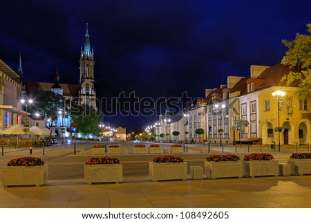 City at Night on the left side of the cathedral of Bialystok, Poland.