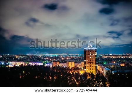 stock photo city at night panoramic scene novosibirsk russia 292949444 - Каталог — Фотообои «Новосибирск»