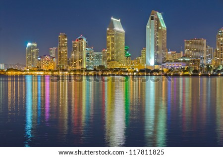 City at night, panoramic scene of downtown reflected in water, San Diego, CA, USA