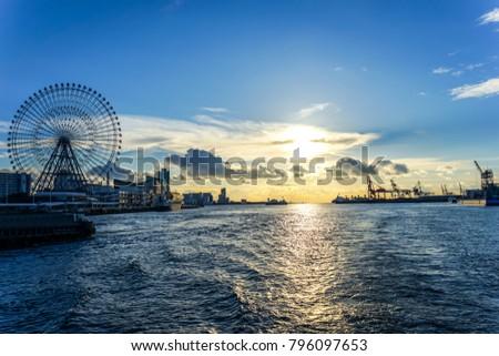 City Bay,Osaka Bay,Sunrise in Bay,Sunrise in Osaka Bay,Sunrise in Japan Bay  #796097653