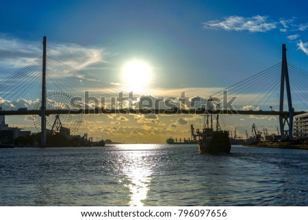 City Bay,Osaka Bay,Sunrise in Bay,Sunrise in Osaka Bay,Sunrise in Japan Bay  #796097656