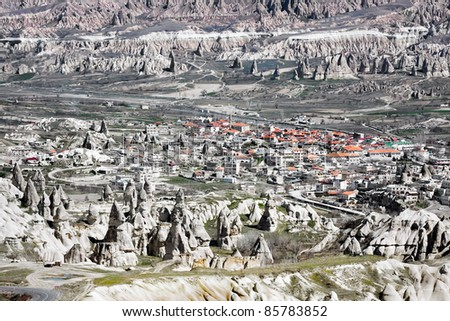 City between rocks, Cappadocia, Turkey - stock photo