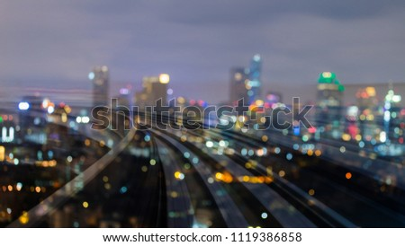 City blurred bokeh light with train track motion, abstract background #1119386858