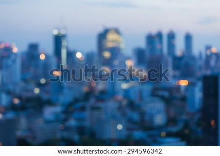 City blurred lights background after sunset
