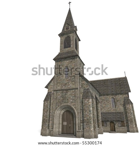 City Building Church. 3D rendering with clipping path and shadow over white
