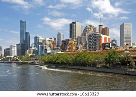 City buildings, alongside the Yarra River, Melbourne, Australia